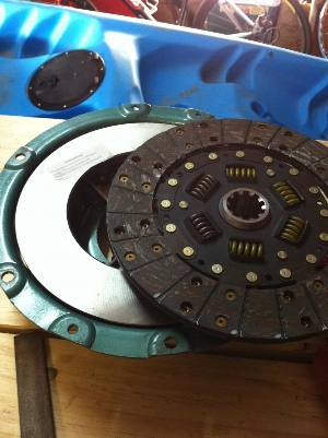 New clutch pressure plate, clutch plate and thrust bearing ready for install.
